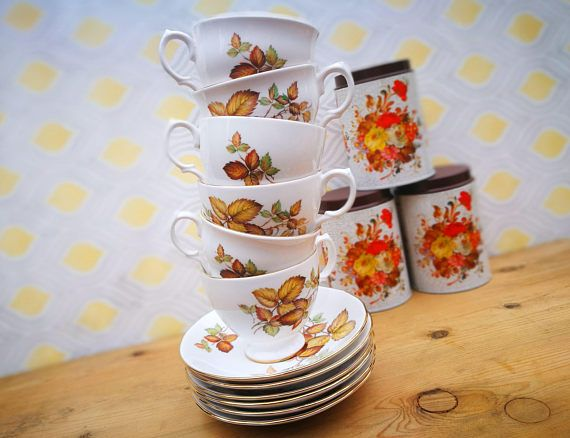 Vintage china cups and saucers set of up to 8 or individual . Gainsborough bone china . Autumn leaves pattern . English bone china . Vintage