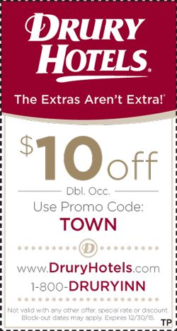Drury Hotels | St Louis Coupons | Town Planner | Large Collection of Coupons in the Saint Louis Area