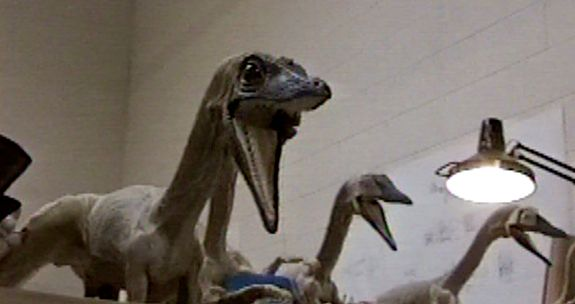 The Compys were made out of foam latex over a wire frame. Behind the scenes of THE LOST WORLD: JURASSIC PARK 2. Special Effects by Stan Winston Studio.