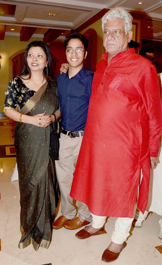 Om Puri with wife Nandita and son Ishaan at Ishaan's birthday bash. #Bollywood #Fashion #Style