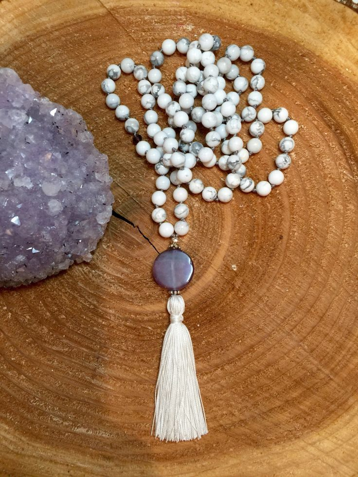 A personal favorite from my Etsy shop https://www.etsy.com/ca/listing/469122138/howlite-and-amethyst-mala-necklace