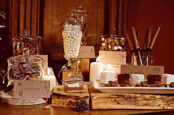 Rustic sweet bar using birch wood and wood slabs by Naturally Chic. Photo by Orange Girl Photography. #rusticwedding #winterwedding #emeraldlakewedding