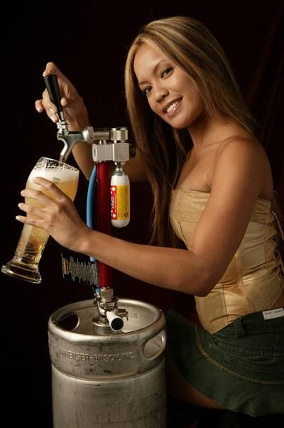 Speaking, girl with beer keg Absolutely with