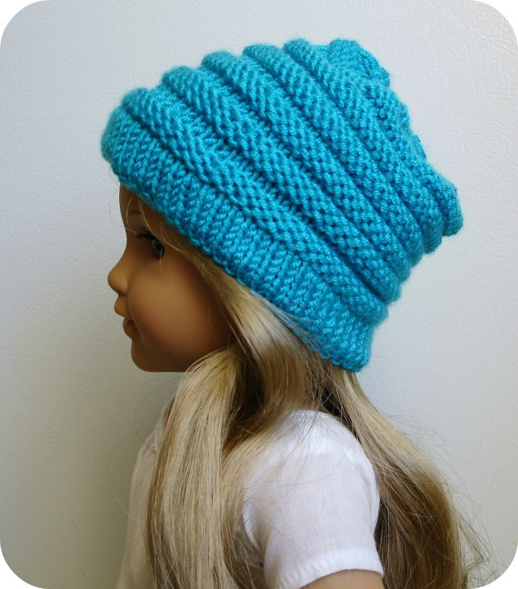 Sophie In Turquoise Blue - Slouchy Hat - Hand Knit For American Girl Dolls ...
