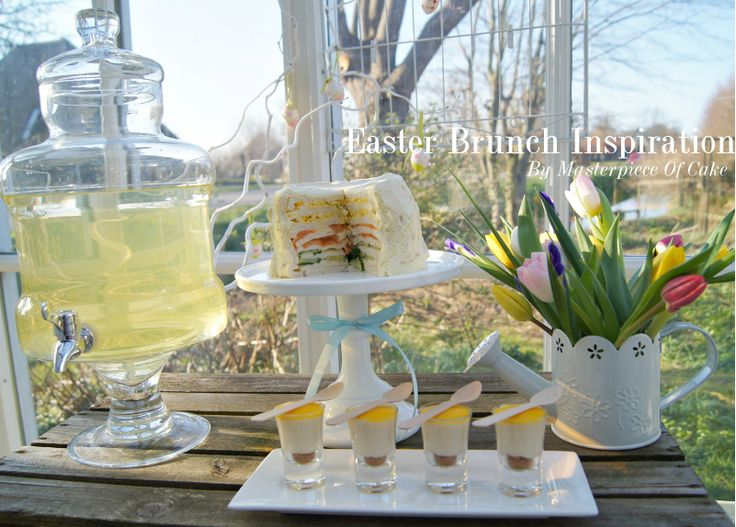 Easter Brunch/High Tea Table. Styling and pictures by Masterpiece Of Cake, Sandwich Cake and Cheesecake shots by Banketbakkerij Lanskroon.