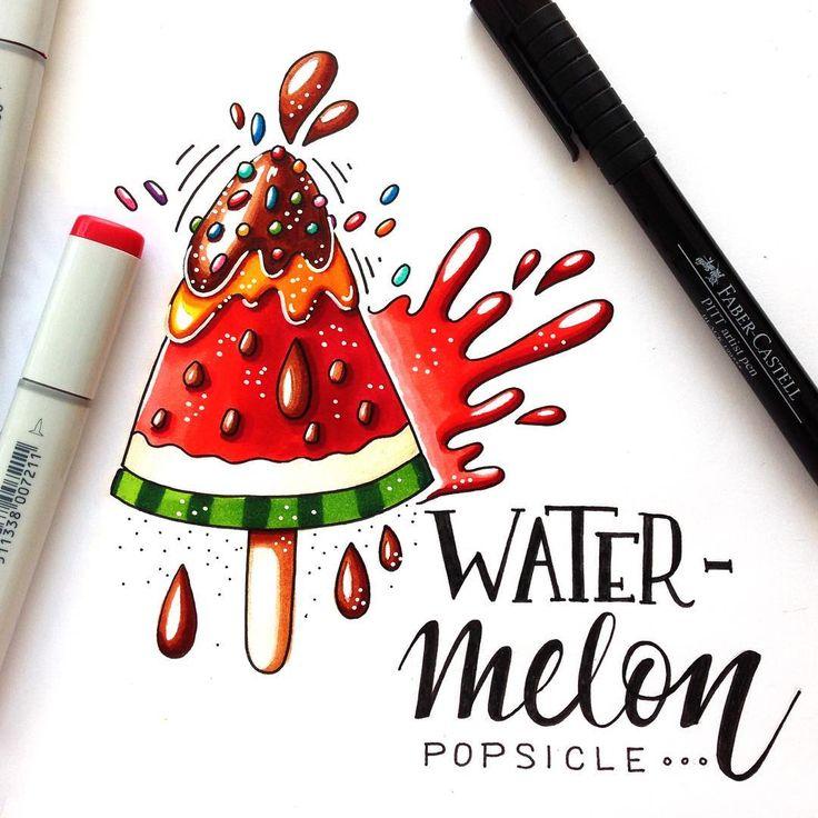 5/8 theme of the Summer Drawing Challenge with Lisa Krasnova | @lisa.krasnova | Summer Desserts. У меня относительно полезный десерт получился:) #lk_sketchflashmob #watermelon #watermelonpopsicle #popsicle #art_markers #summerdessert #dessert #drawingchallenge #julia_henze #sketch #sketchflashmob #summer #summerflashmob #flashmob #handlettering #sketchchallenge #dessertillustration #splash #lettering #healthydessert #healthyfood#vanbeekartsupplies #sketchbookart #copic #copicmarkers…