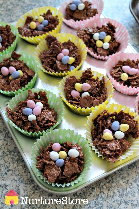 Easter crispy nest cakes