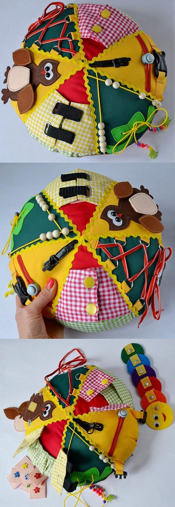 The diameter of pillow - 30 cm (11,8 inches). Made of cotton, felt and various fasteners. Toy - cushion is divided into 6 segments. The first green triangle, the child learns to count to 10 and to make a knot. The second yellow triangle with clasp that found on the upper garment (the