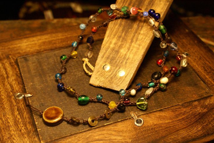 Warm and elegant bohemian gypsy macrame necklace or bracelet with multicolor glass beads. by Hishuk on Etsy