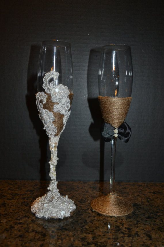 rustic chic country western elegance champagne wedding flute glasses toasting set tall 10'
