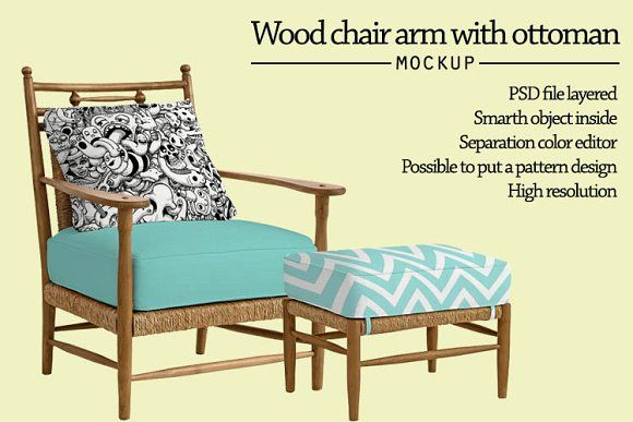 Wood chair arm with ottoman mockup by Gumacreative on @creativemarket