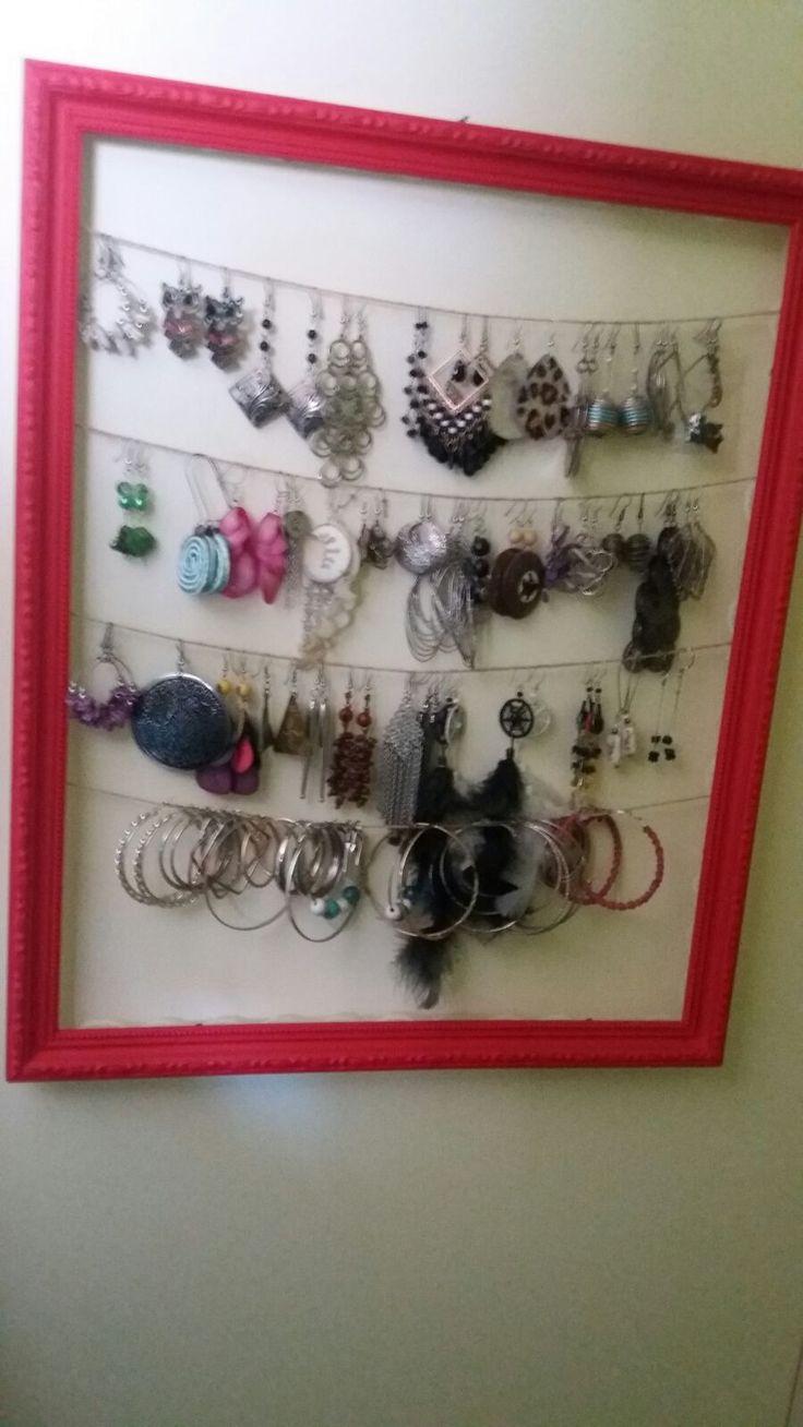Organizador de joyas con marco de moldura rojo, solicitado para regalo de navidad · www.sonarte.cl