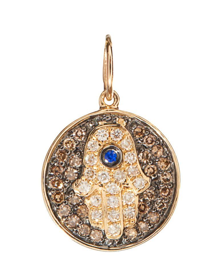 Sydney Evan 14k Yellow Gold Small Diamond and Sapphire Hamsa Disc Charm Pendant