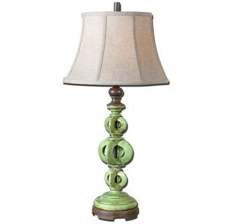 Uttermost Civita 27490 Table Lamp In Antiqued Crackled Green Finish
