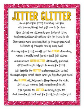 It is a picture of Crafty Jitter Glitter Poem Printable