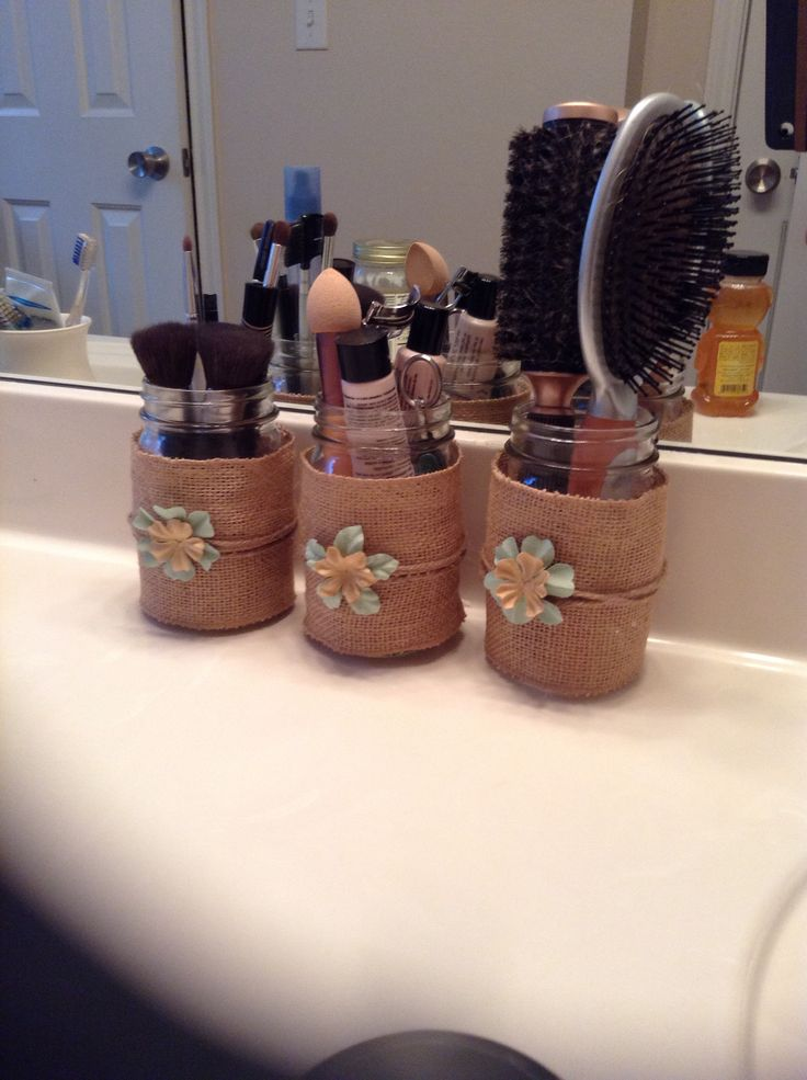 Burlap Wrapped Mason Jars For Organizing Your Bathroom