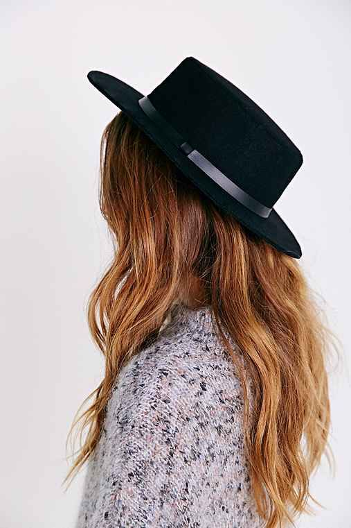 """Flat-Top Boater Hat, BLACK, ONE SIZE"""""""