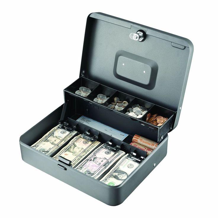 Steelmaster Tiered Cantilever Cash Box Money Drawer Key Locking Safe Lock Gray #STEELMASTER