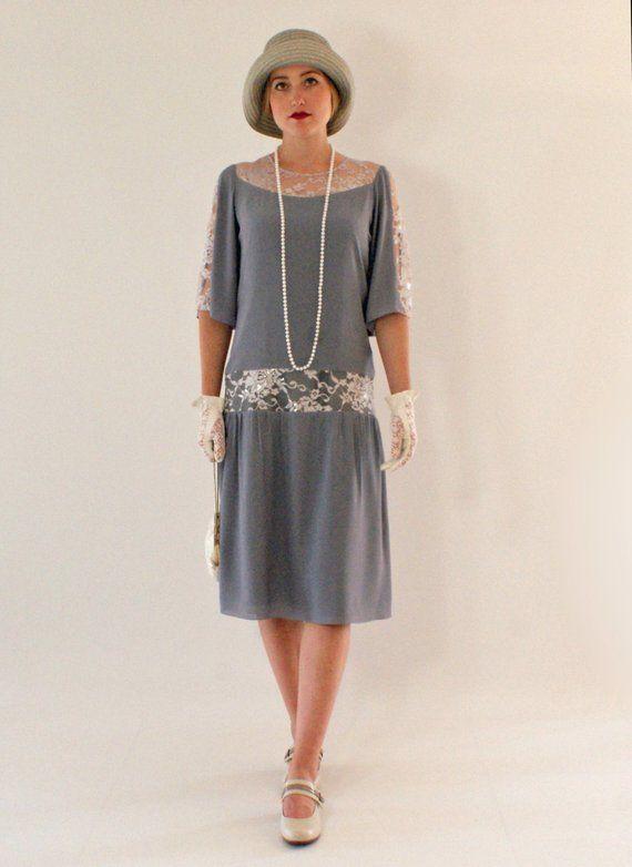 Graue große Gatsby Kleid mit Ellenbogen-länge Ärmel, 1920er Jahre Kleid, Flapper Kostüm, Charleston Kleid, Roaring 20er Jahre Mode, Downton Abbey Kleid