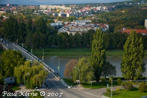 Uzhgorod, Ukraine. View of the Uzh River from Zita's flat.