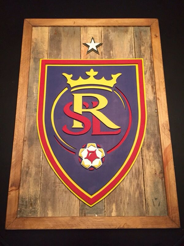3-D logo sign. Salt lake Real soccer wood sign. Real soccer wall decor. Reclaimed wood sign. Hand made by Kate Hall