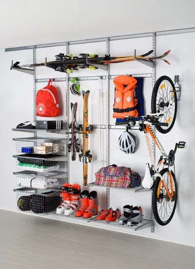 elfa is the perfect solution for Garage Shelving and Storage! Great for storing skis to bikes to camping equipment!