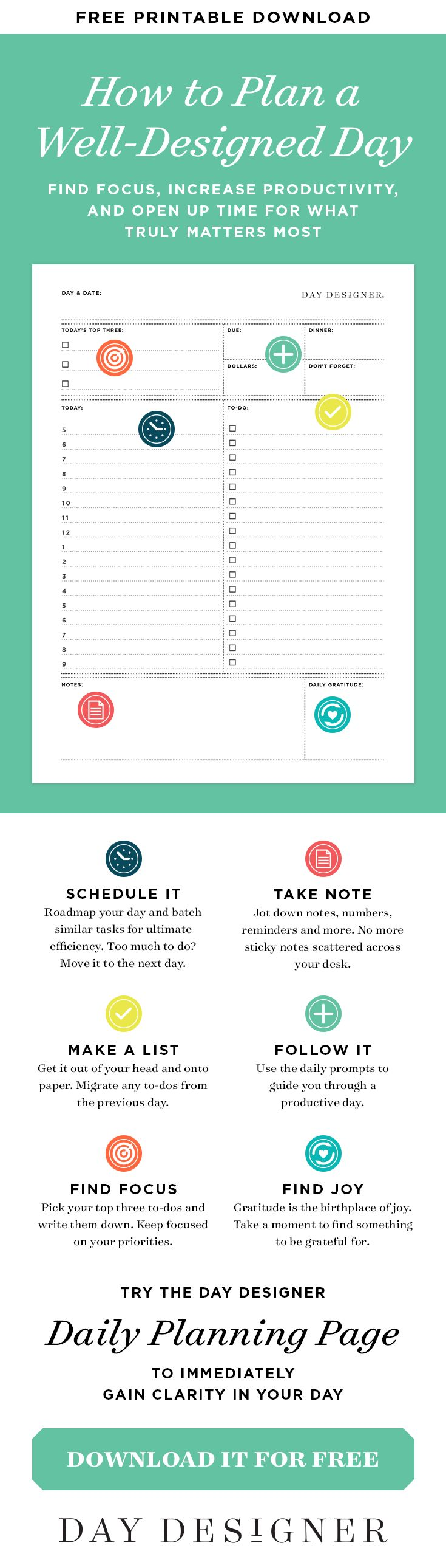 Find focus, increase productivity, and open up time for what truly matters most! Roadmap your day using helpful prompts on our signature daily planning page. | Day Designer—the strategic planner and daily agenda for living a well-designed life. #daydesigner