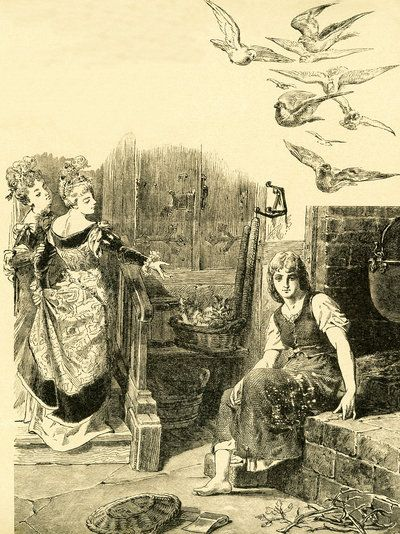 "In 1812, the Brothers Grimm, Jacob and Wilhelm, published Children and Household Tales, a collection German fairy tales. This illustration accompanied the tale ""Cinderella"" and shows Cinderella being left by her stepsisters to do the housework. This image is from Grimms Eventyr (Grimm's Fairy Tales) by Carl Ewald, published in 1922."