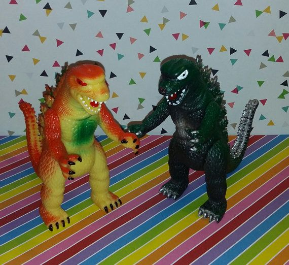 Up for sale is a vintage pair of 1980s red and green Godzilla figures, these are just like the Imperial Godzilla figures from the same time, but slightly smaller. The only marking is it says China under the right foot. This pieces is new old store stock and in great shape. They would make a great addition to any monster collection.  Please see the enlarged photo(s) before purchasing, as well as check my out other great vintage toy listing and funky pop culture items. If you have any…