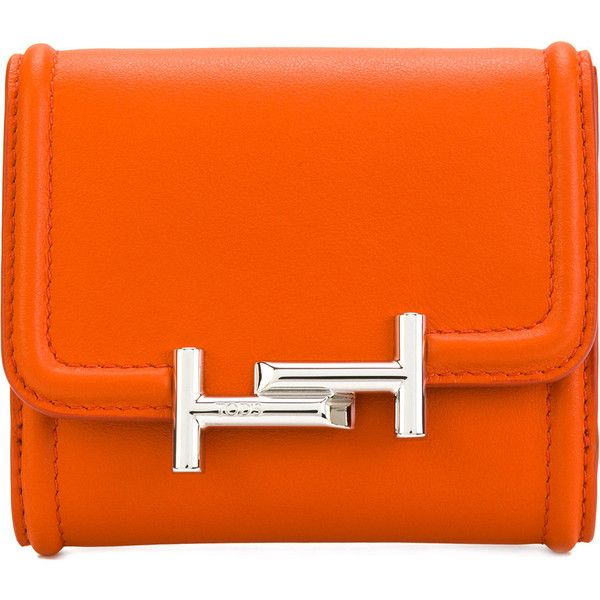 Tod's logo plaque purse ($313) ❤ liked on Polyvore featuring bags, wallets, orange, logo bags, orange bag, tods wallet, coin pocket wallet and orange wallet