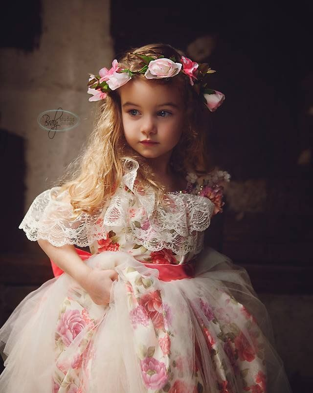 """""""Thoughts Of Jasmine""""... A Beautiful Girls Lace Dress with Floral Print"""