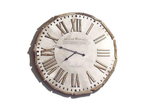 Horloge en bois flotté - création unique - grande taille 60 cm