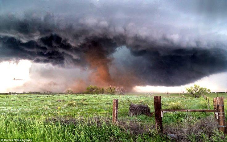 Menacing tornado strikes farmland in rural Colorado.