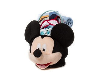 """Mickey's Basket""  Mickey Basket, Overall & T-Shirt Outfit, Photo Album, Bib, 3 Assorted Pairs of Socks and a Blanket    Perfect for Your Little Man  *Limited Quantity, While Supplies Last*  $65.00 CAD"
