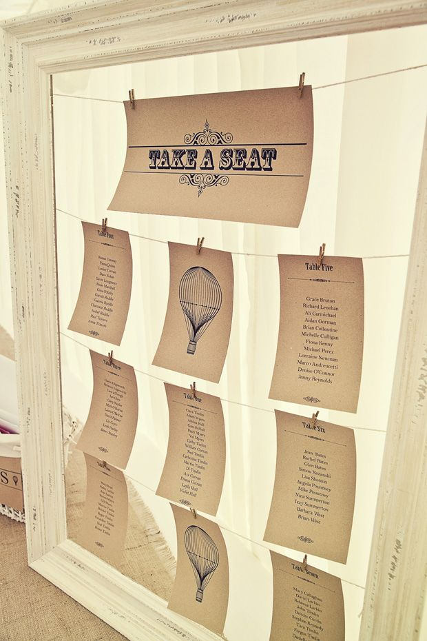 craft paper table plan - Read more on One Fab Day: http://onefabday.com/durhamstown-castle-wedding-by-bronte-photoraphy/