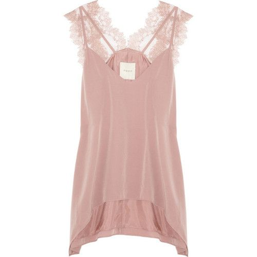 Mason by Michelle Mason Lace and washed-silk camisole ❤ liked on Polyvore