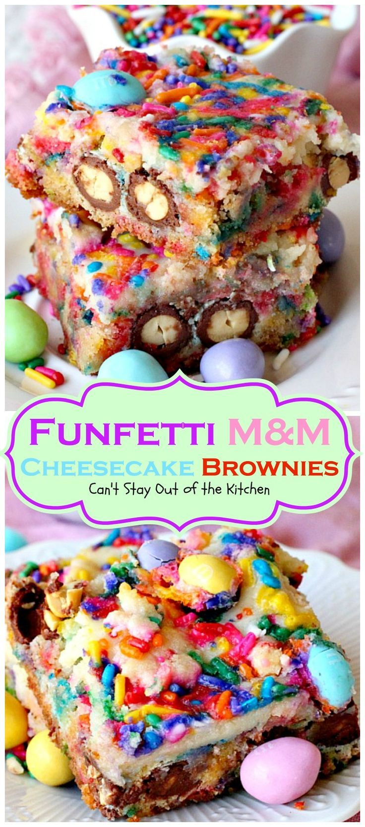 Funfetti M&M Cheesecake Brownies are filled with peanut butter M&M's, rainbow sprinkles & cheesecake filling. Amazing!