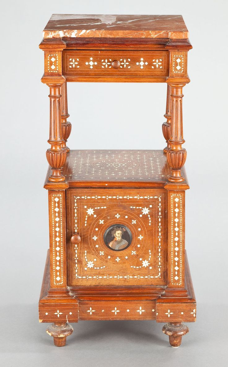 A  WALNUT, BONE, IVORY AND METAL INLAID MARBLE TOP STAND .Unknown maker, North Italian, circa 1880.