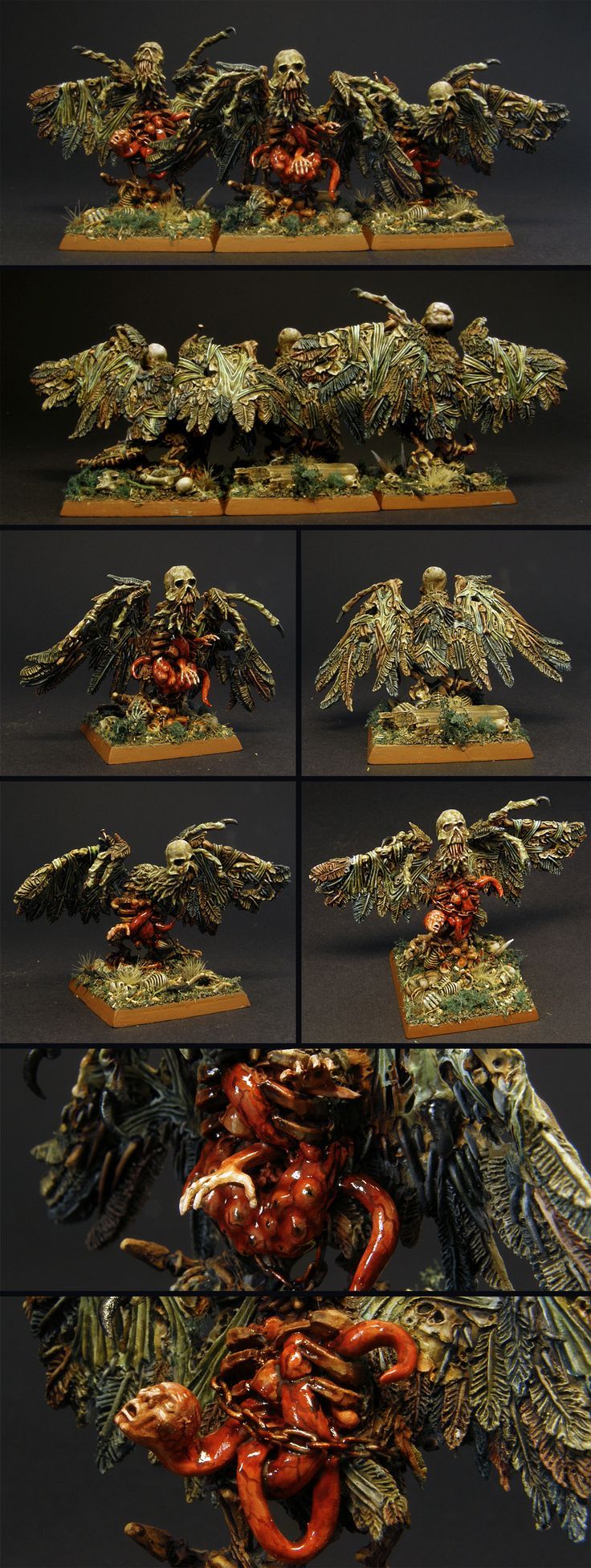 Heavily converted Carrions - painted for Vampire Counts, Warhammer Fantasy Battle - but can work for Age of Sigmar if need be. Original minis belonged to the discontinued Tomb Kings range - they got turned into crazy flying horrors with parts of them inspired by the movie The Thing - or Sarkicism from SCP universe