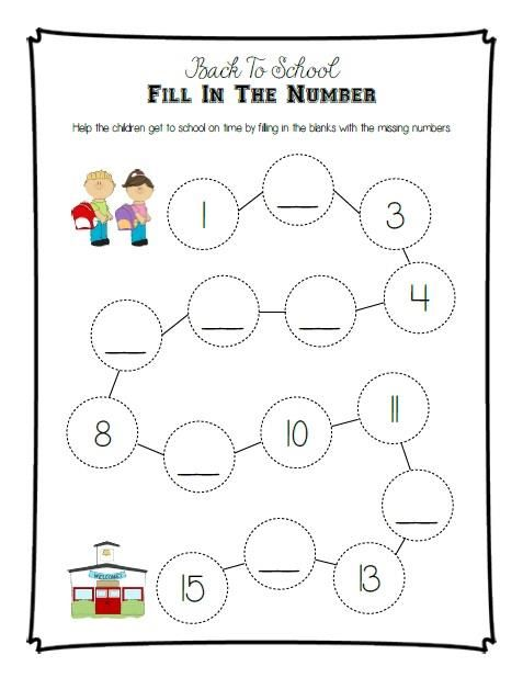 Fill In The Blank Worksheets For Kindergarten : Back to school fill in the number printable activity