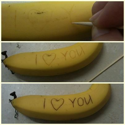 Invisible Banana Ink - this is SO much fun!    Write on them with toothpicks and as the day goes on message appears... Great for when you pack a lunch... or just want to freak someone out :)