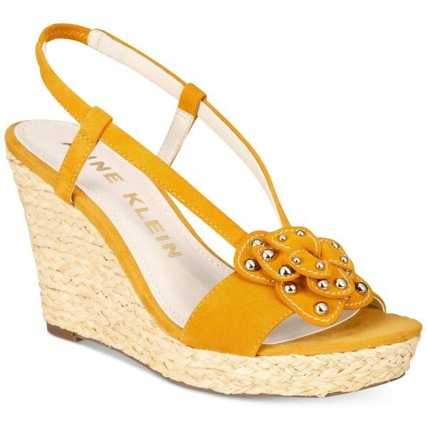 Anne Klein Marigold Espadrille Platform Wedge Sandals (£70) ❤ liked on Polyvore featuring shoes, sandals, wedges, dark yellow, platform wedge sandals, bow shoes, flower print shoes, floral sandals and yellow sandals