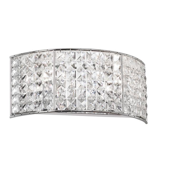 2 Light Polished Chrome Crystal Vanity Fixture By Dainolite