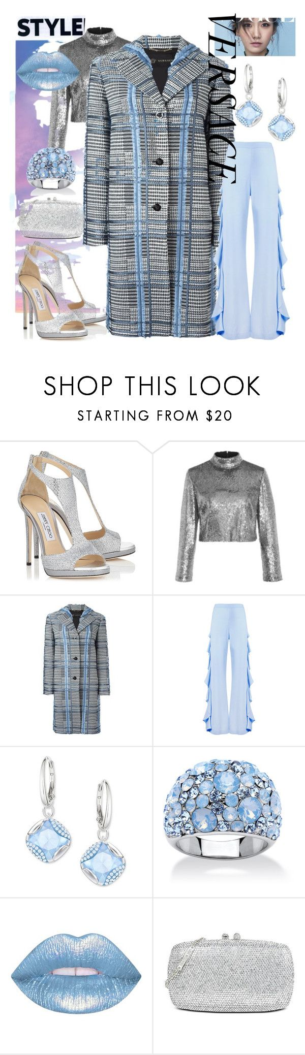 """""""Style in a VERSACE Coat"""" by mdfletch ❤ liked on Polyvore featuring Jimmy Choo, A.L.C., Versace, Sara Battaglia, Swarovski, Palm Beach Jewelry, Lime Crime, Love Moschino and versacecoat"""