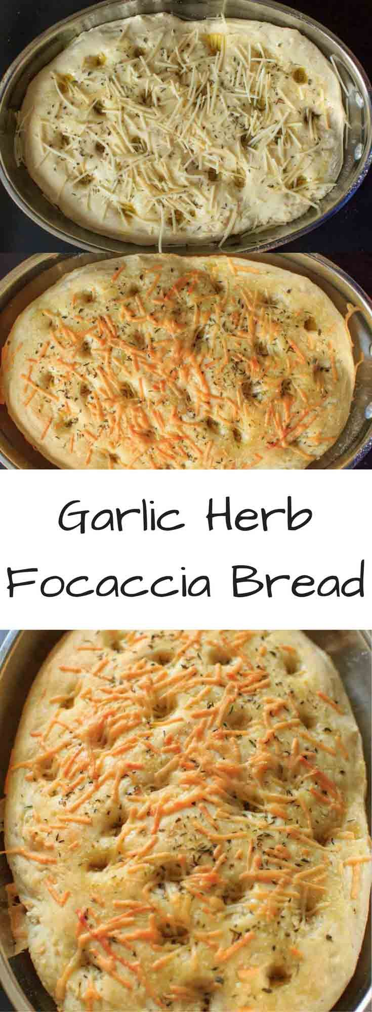 Garlic Herb Focaccia Bread - an easy and flavorful bread that is vegan-friendly. Impress your family or dinner guests with this customizable bread that's better than store-bought.