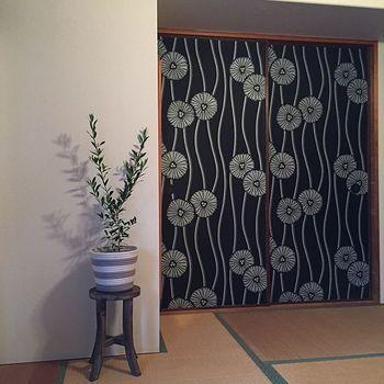和室にオリーブの木!とても意外な組み合わせですが、こちらのお部屋は、ふすまを壁紙で張替え、モダンな雰囲気が漂っているのでとてもよく似合っていますね。鉢カバーをボーダーにしながら、鉢台は和のテイストで揃えている上手なバランスも参考になります。