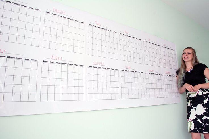 Extra Large Calendrier effaçable à sec Calendrier mural annuel - Vierge - Sans Date et réutilisable 91,4 x 243,8 cm Blanc: Amazon.fr: Fournitures de bureau