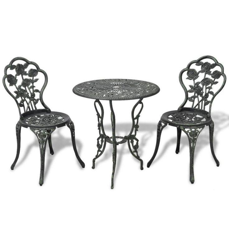 Vintage Bistro Set Outdoor Garden Patio Luxurious Furniture Round Table Chairs