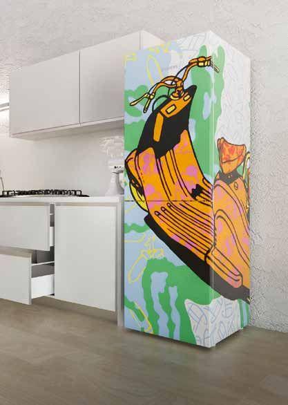 frigorifero disegno street art colorato