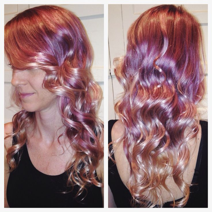Rose gold, purple, and pink color melt. Balayage hair ...